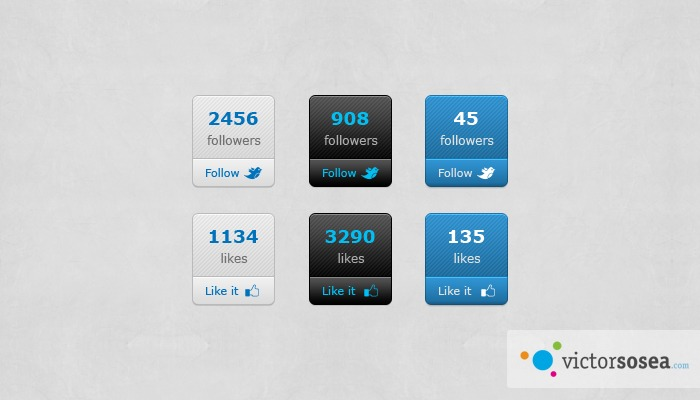 Social Count Buttons Free PSD